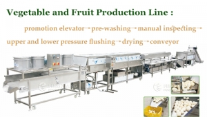 Processing process of fruit and vegetable cutting, washing and air-drying production line