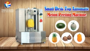 How does machine peel the pineapple quickly?