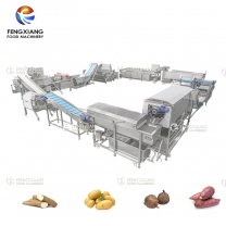 Commercial Cassava Washing Peeling Cutting Dicing Drying Production Line