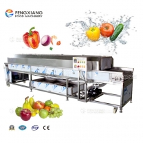 Fresh vegetables, fruit selection and sorting cleaning machines line